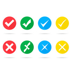 set of different check marks and crosses vector image