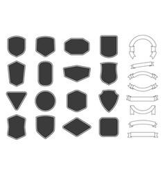 set vitage label badges shape and ribbon baner vector image