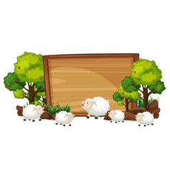 Sheep on the wooden banner vector