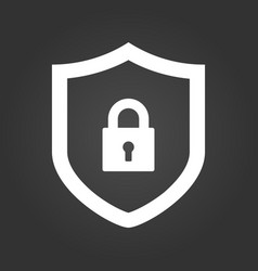 shield and lock icon cyber security concept vector image