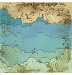 sky clouds grunge vintage vector image