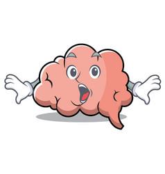 surprised brain character cartoon mascot vector image vector image