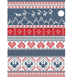 Tall Xmas pattern Santa sleigh reindeer mountains vector