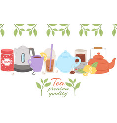 tea party collection cup of vector image