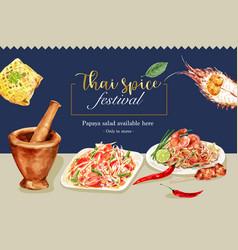 Thai food social media design with papaya salad vector
