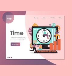 time website landing page design template vector image