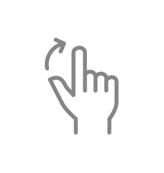 Two fingers flick right line icon touch screen vector