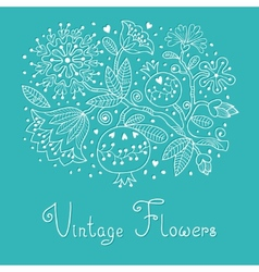 Vintage Festive card with flowers and pomegranate vector