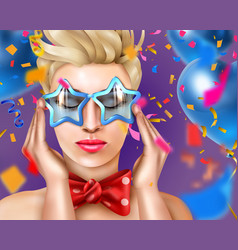Woman realistic carnival poster vector