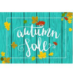 wooden autumn border leaf background vector image