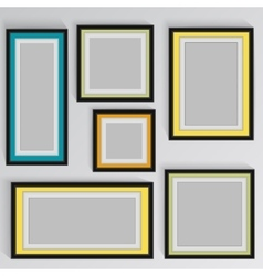 wooden square picture frames color rainbow set for vector image