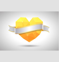 Yellow heart with ribbon valentines day vector