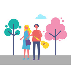 young couple walking in park cartoon trees vector image