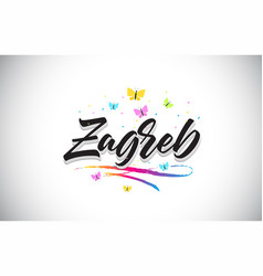 Zagreb handwritten word text with butterflies and vector