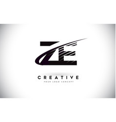 Ze z e letter logo design with swoosh and black vector
