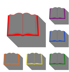 book sign set of red orange yellow green blue vector image