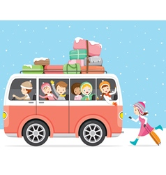 Children Happy To Travel By Bus vector image vector image