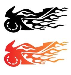 Flaming Sport Bike Motorcycle Logo vector image vector image