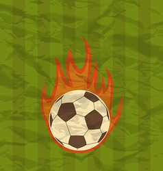 Retro football flyer with ball in fire flames vector image