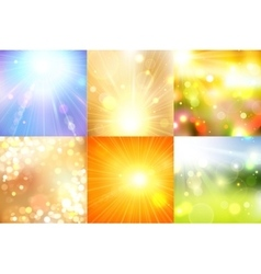 Set of summer shining magical background with vector image vector image