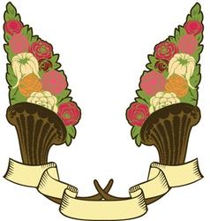 vintage horn of plenty flowers vector image vector image
