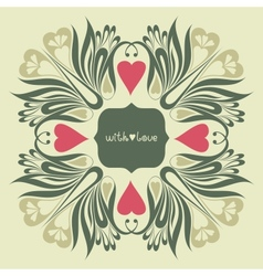 Floral ornate background with love vector image