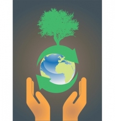 hand holding earth globe 3 vector image vector image
