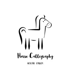 horse calligraphy emblem vector image vector image
