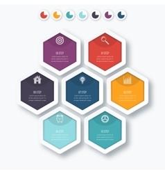infographics seven hexagons vector image vector image