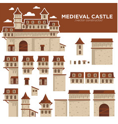 medieval castle or royal fortress constructor of vector image