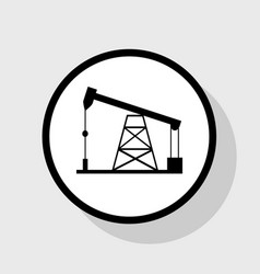 Oil drilling rig sign flat black icon in vector