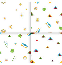seamless pattern camping set vector image vector image