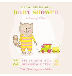 Baby Girl Cat with a Train - Baby Shower Card vector image