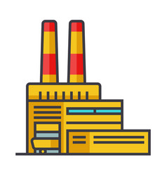 industry factory industrial center flat line vector image