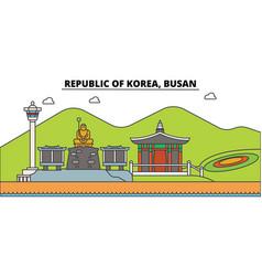 south korea busan outline city skyline linear vector image vector image