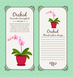 vintage label with flower orchid vector image