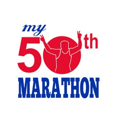 50th marathon run race runner vector image