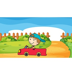 A young boy in his car vector
