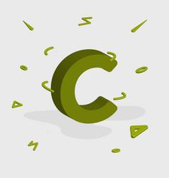 Alphabet 3d logo - letter c vector