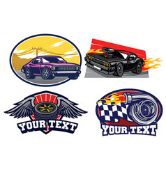 badge muscle car set vector image