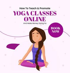 Banner design of yoga classes online vector