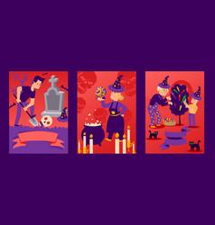 banner for celebrating halloween character man vector image