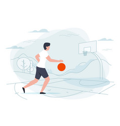 Basketball player man on playground vector