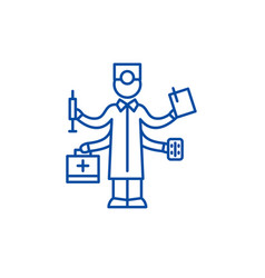 best doctor line icon concept best doctor flat vector image