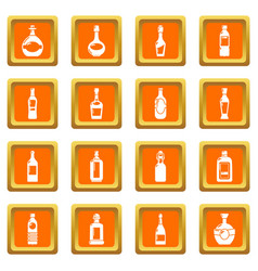 bottles icons set orange square vector image