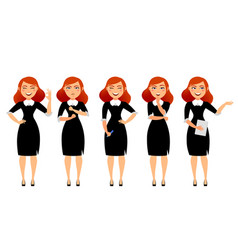 Business woman in various poses flat vector