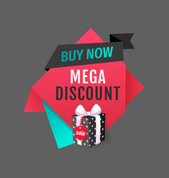 Buy now mega discount best offer sale label vector