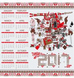 Calendar 2017 in aztec style vector