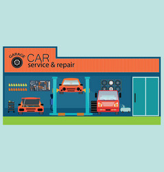 Car service and repair center or garage vector