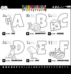 cartoon alphabet letters set from a to f coloring vector image